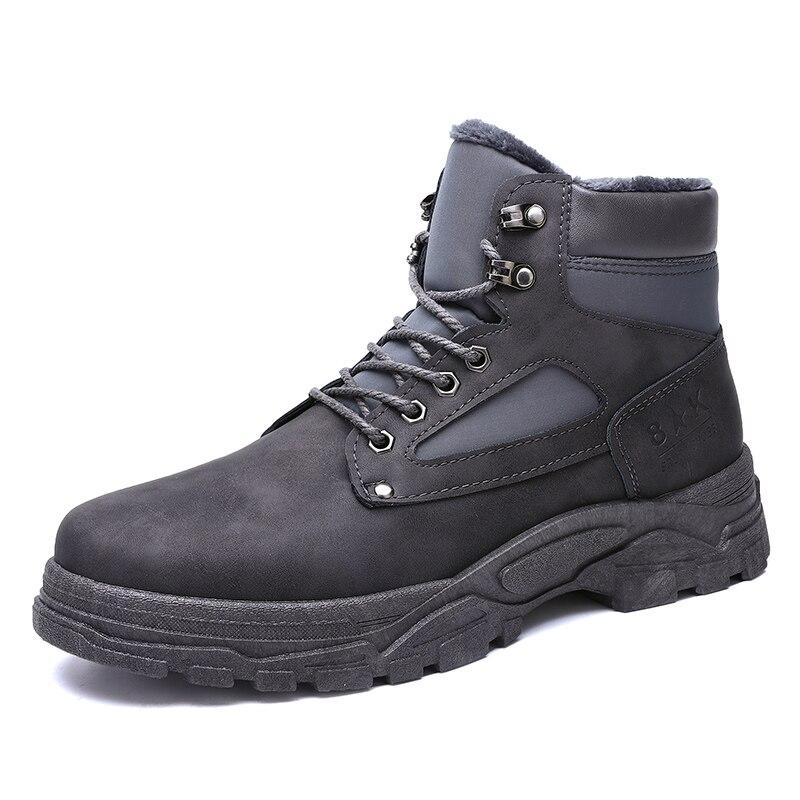 Chauds jaune Taille Sneakers Chaussures En L'hiver Tennis Hommes D'hiver Noir Décontracté Bottines Amants Hiver gris Botas Mâle Cuir Hombre Bottes De Pour Grande qa0BWwvx