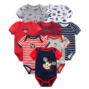 Image 1 - 8 PCS/lot summer short sleeve baby boy bodysuit baby boy jumpsuit set ropa bebe baby boy clothes