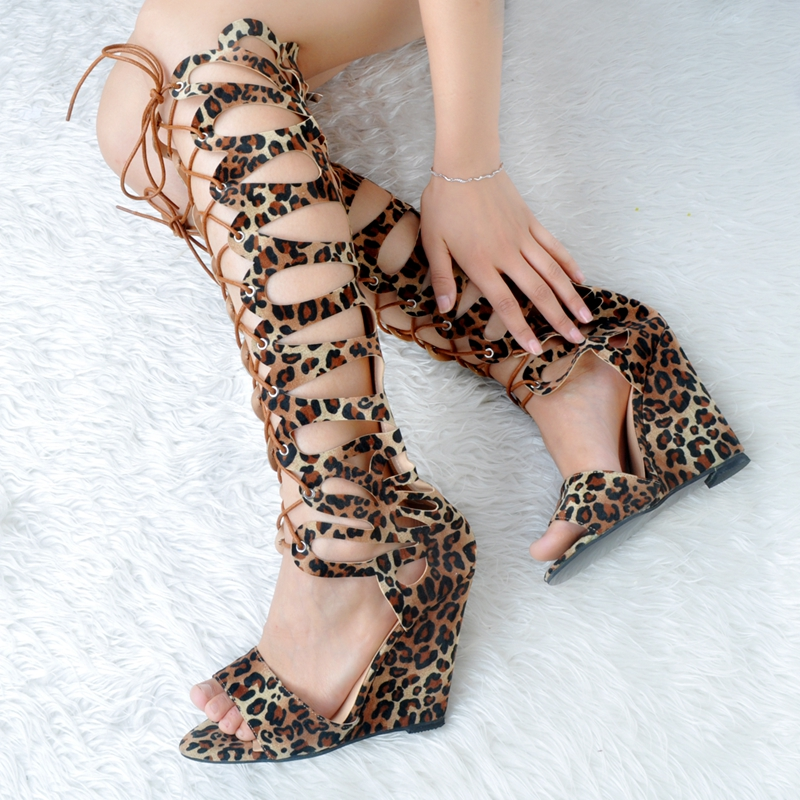 Leopard Gladiator Style Women Sandals Wedge High Heels