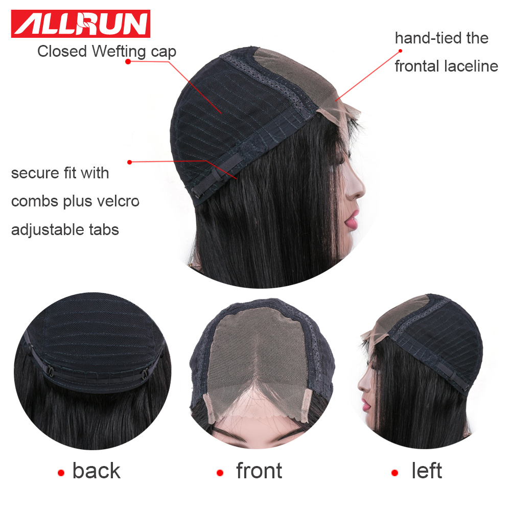 HTB1cqcKajDuK1Rjy1zjq6zraFXal Allrun 4*4 Lace Closure Human Hair Wigs For Black Women Short Lace Wigs Malaysia Straight Non-Remy Pre plucked 130% Low Raito