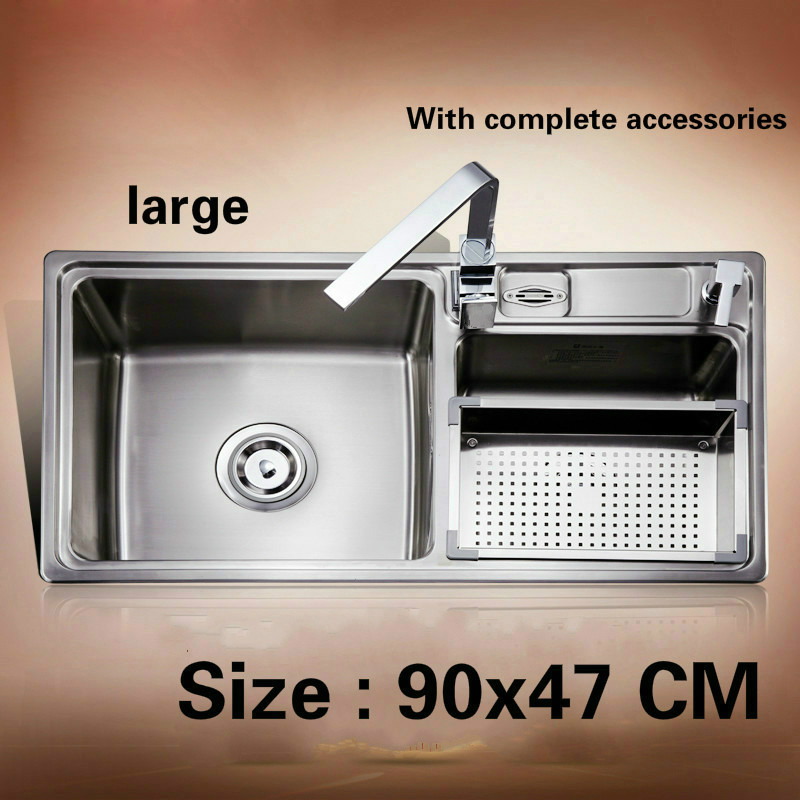 Free shipping Food grade 304 stainless steel hot sell standard kitchen sink double trough 90x47 CM fast food leisure fast food equipment stainless steel gas fryer 3l spanish churro maker machine