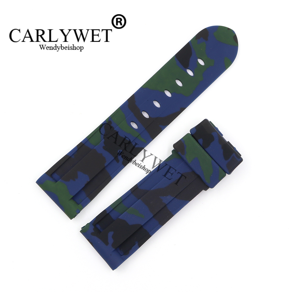 CARLYWET 24mm Wholesale Newest Camo Blue Waterproof Silicone Rubber Replacement Wrist Watch Band Strap Belt Without Buckle lukeni 24mm camo gray green blue yellow silicone rubber strap for panerai pam pam111 watchband bracelet can with or without logo