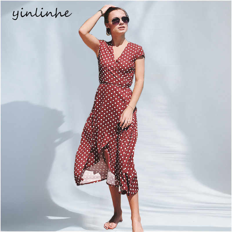 yinlinhe 2018 Elegant Red Polka Dot Wrap Dress Women Beach Summer Dress  Long Maxi V neck