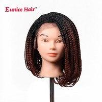 Юнис волосы 14 16 32 дюймов Боб Синтетический Синтетические волосы на кружеве парик с волосами младенца фиолетовый/613 блондинка Цветной плетен...