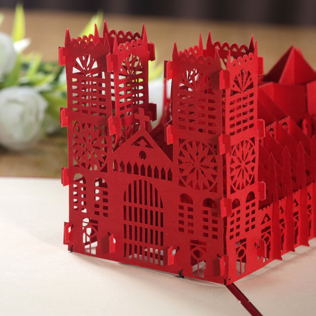 3D Pop Up Greeting Card Handmade Westminster Abbey Happy Birthday – Birthday on Valentine Day Card