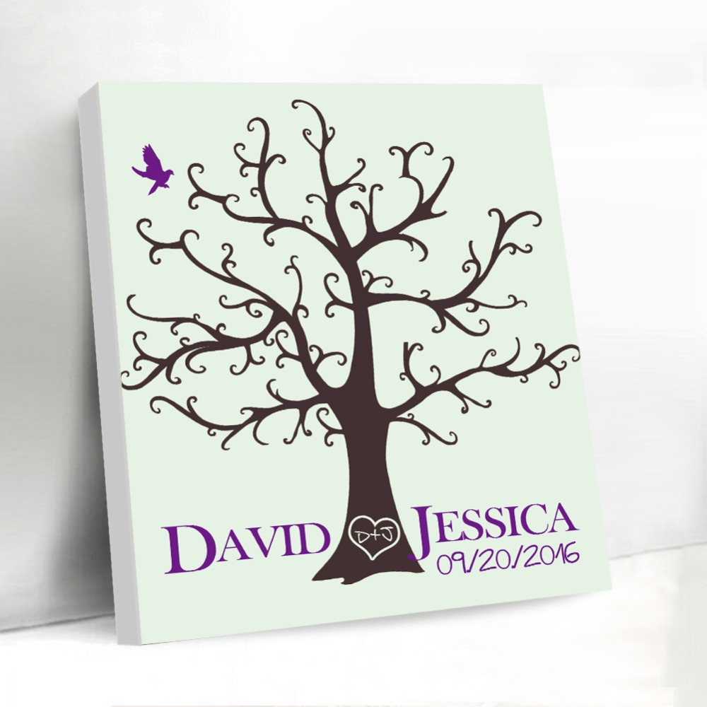 DIY Wedding Gift Favors Fingerprint Tree Signature Guest Book Custom ...