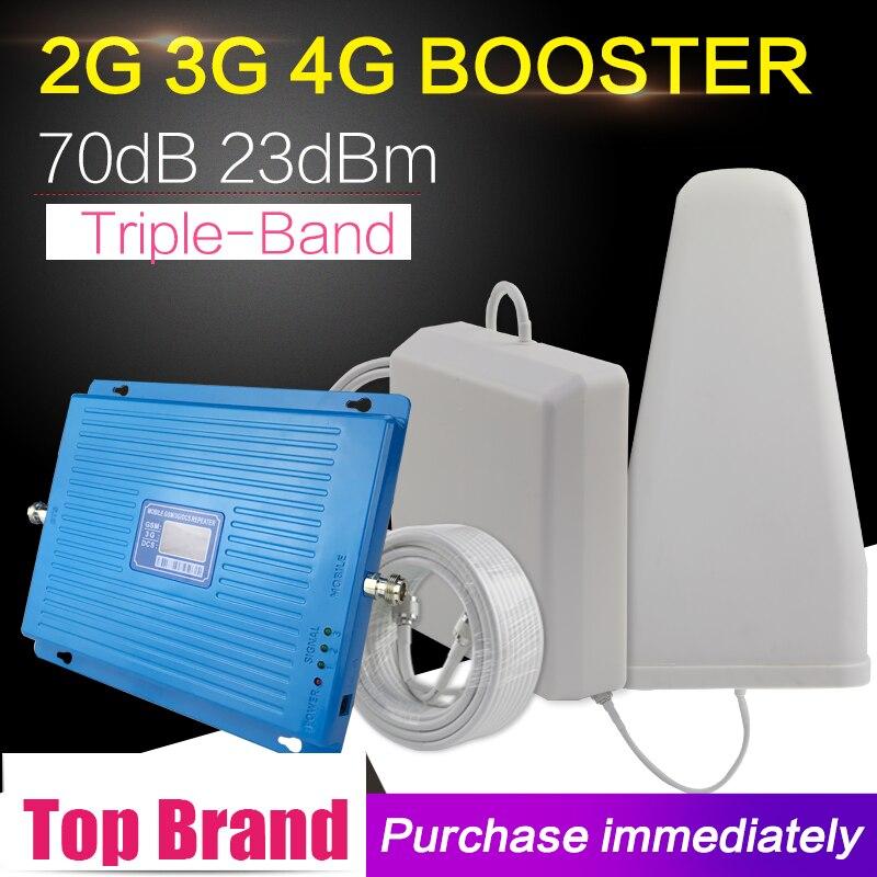 600m2 2g 3g 4g 70dB Cellulaire Signal Booster GSM 900 DCS LTE 1800 mhz WCDMA 2100 mhz signal Répéteur 4g LTE 1800 Amplificateur de Signal