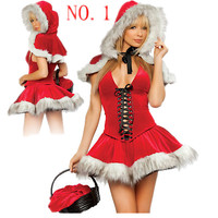 Wholesale Free P P Lady Sexy Sweetie Halloween Santa Christmas Party Clubwear Costume Fancy Dress Outfit
