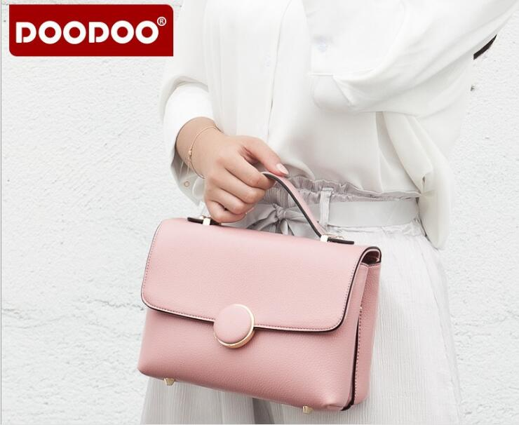 DOODOO Famous Brand Women Handbags Casual Lady Style High Quality PU Leather Pink/Black/Blue color Messenger Bag Totes FR472 lydian women classic luxury pu leather smiling face bag black handbags bat wings lady smiley totes phantom famous purse clutches