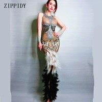 Блестящее Новое дизайнерское сексуальное черно белое платье с перьями, одежда для сцены, длинное платье со стразами