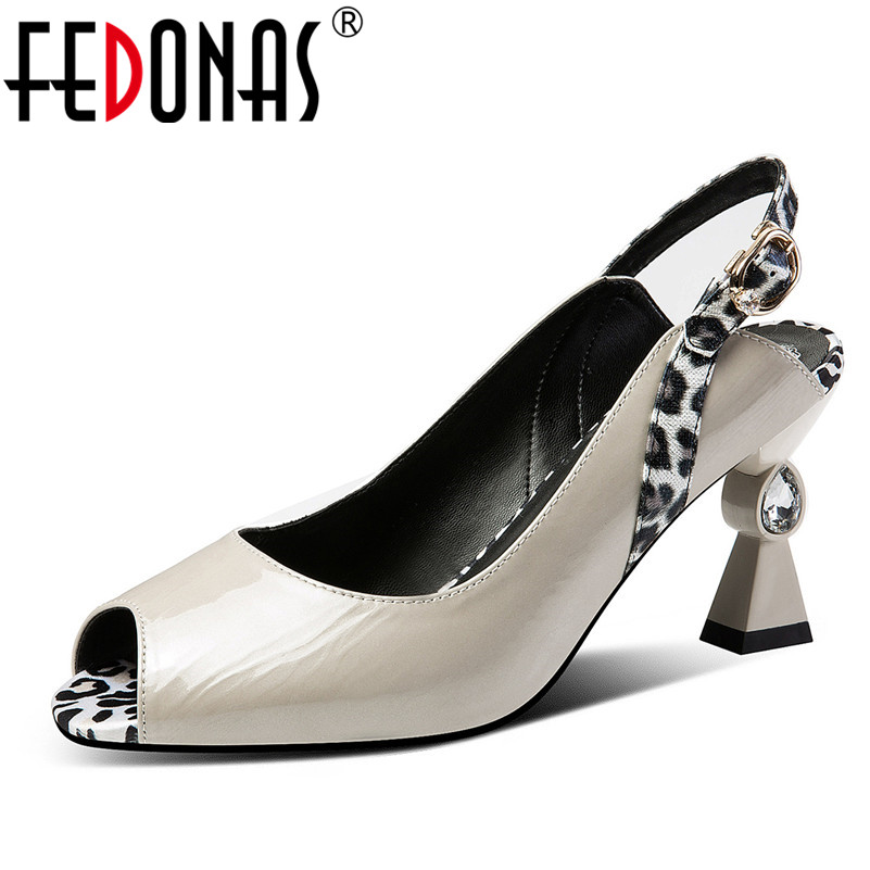 FEDONAS Fashion Mixed Colors Women Sandals 2019 New Genuine Leather High Heels Peep Toe Concise Elegant