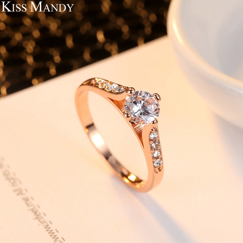 KISS MANDY Rose Gold Wedding Bands Rings For Women 0.4 Carat Clear Crystal Fashion Korean Engagement Jewelry Accessories KPR53 Кольцо