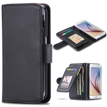 Leisure Wallet Case For Galaxy S6 S6 Edge Note 4 Leather Classic Black Folded Cover for