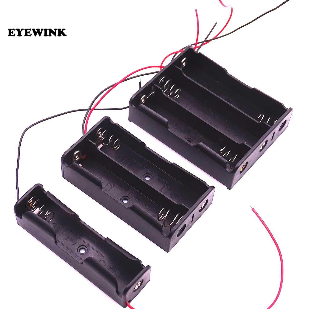 16850 Scatola di Immagazzinaggio Della Cassa del Supporto di Plastica Della Cassa di Batteria Con Cavi di Legare per 2x18650 Batterie di Saldatura