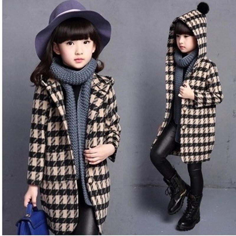 ФОТО Girls Fall and Winter Clothes Wool Cardigan Collar Windbreaker Children Personality Plaid Woolen Coat Kids Clothing 5 Colour