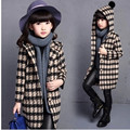 Girls Fall and Winter Clothes Wool Cardigan Collar Windbreaker Children Personality Plaid Woolen Coat Kids Clothing 5 Colour