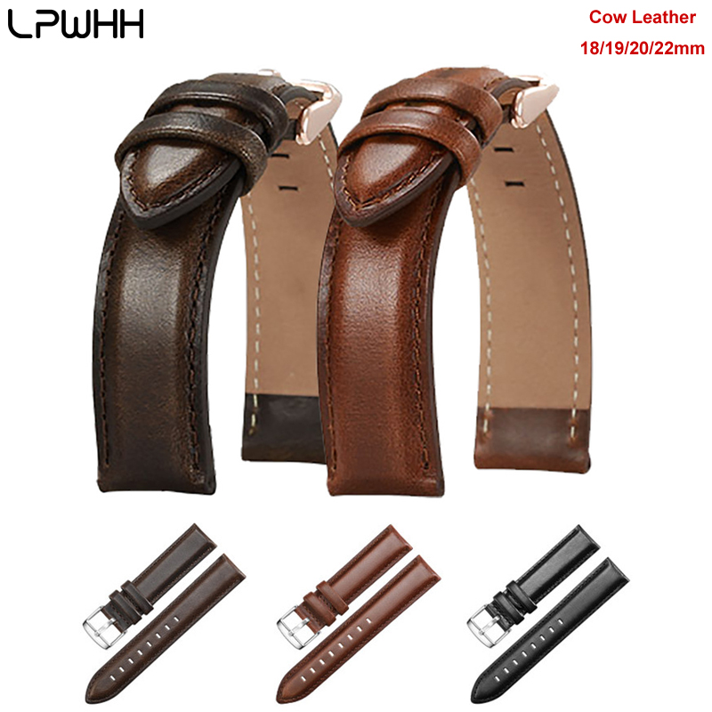 LPWHH Cow Leather Watchbands 22mm Silver Rose Gold Pin Buckle Soft Breathable Genuine Watch Strap Belt 18mm 19mm 20mm
