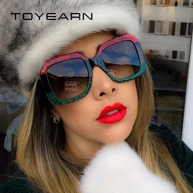 TOYEARN Grife Quadrado Do Vintage Óculos De Sol Mulheres Retro Quadro óculos  de Sol UV400 Feminino bcb36e13fa