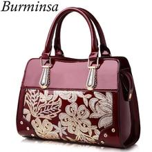 Burminsa Glitter Flower Women Patent Leather Handbags Sequin