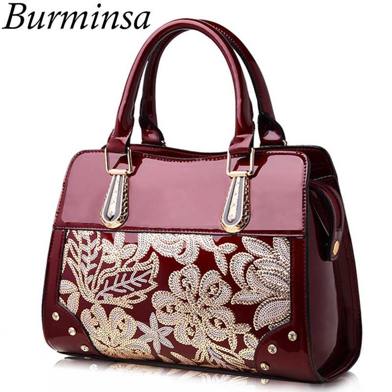6aba5710eab4 Burminsa блеск цветок для женщин лакированная кожа сумки Женский на плечо  дамы лакированные алмазный кошелек Свадебные