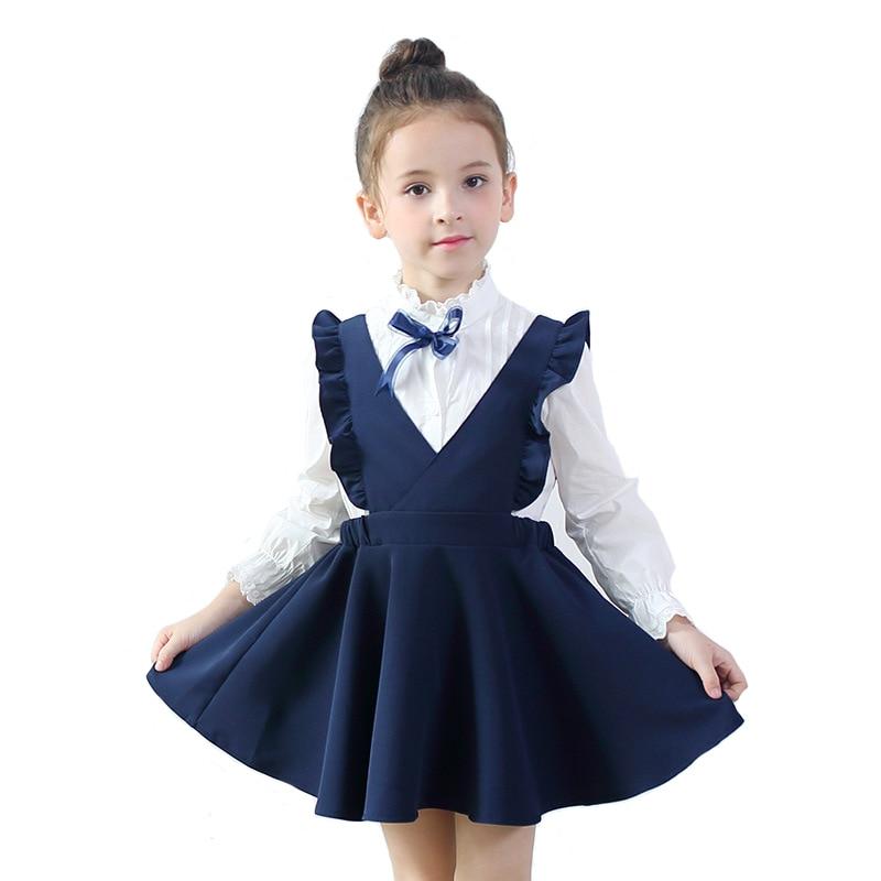 Spring Girls skole Kjole Kids Suspenders Kostume Børn Preppy Style til School Student Clothing til 3y-10y
