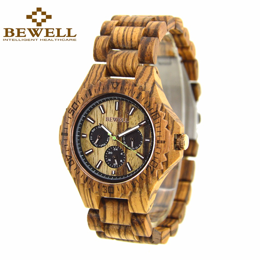 BEWELL Men Business Wood Quartz Watches Waterproof Luminous Pointer Elegant Wristwatch Relogio Masculino 116B