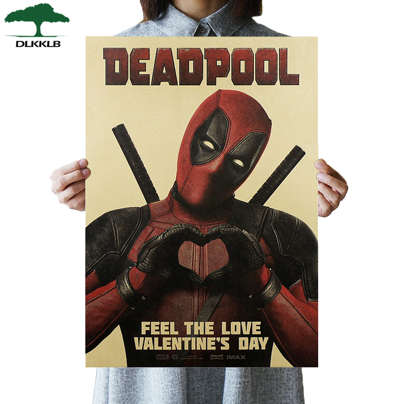DLKKLB Retro Comic Hero Deadpool Movie Poster Vintage Kraft Paper Poster Cafe Bar Decorative Painting 51.5x36cm Wall Sticker