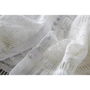 Image 4 - Ordifree 2020 yaz kadın uzun tunik plaj elbise Sundress uzun kollu beyaz dantel seksi Boho Maxi elbise tatil elbise