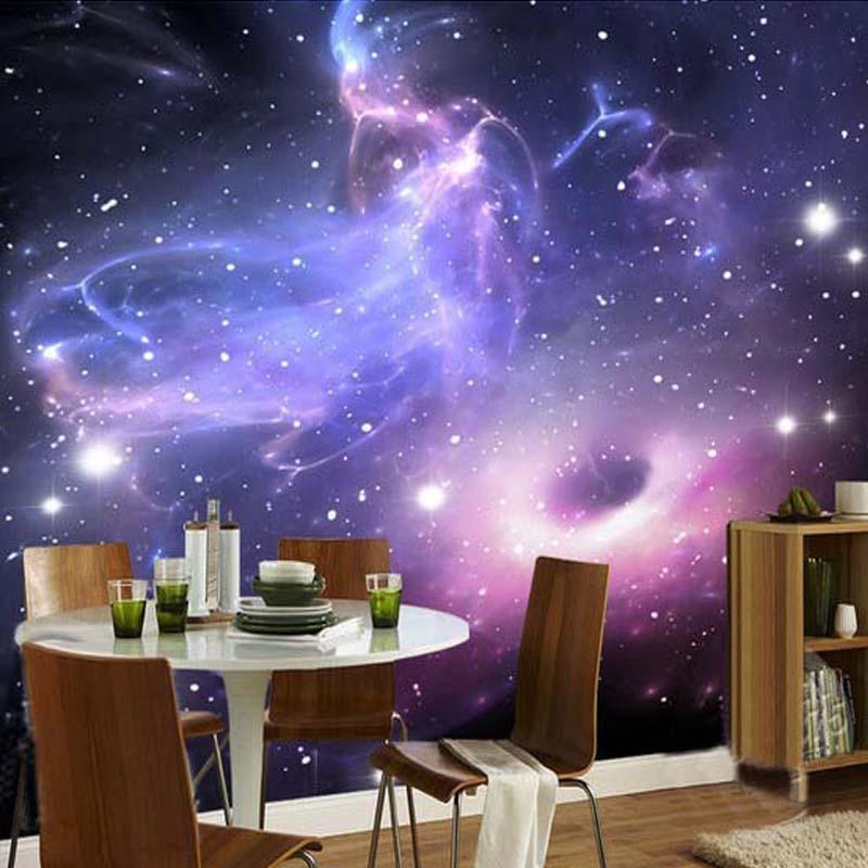 Custom mural 3d room wallpaper european style galaxy cloud for Mural untuk cafe