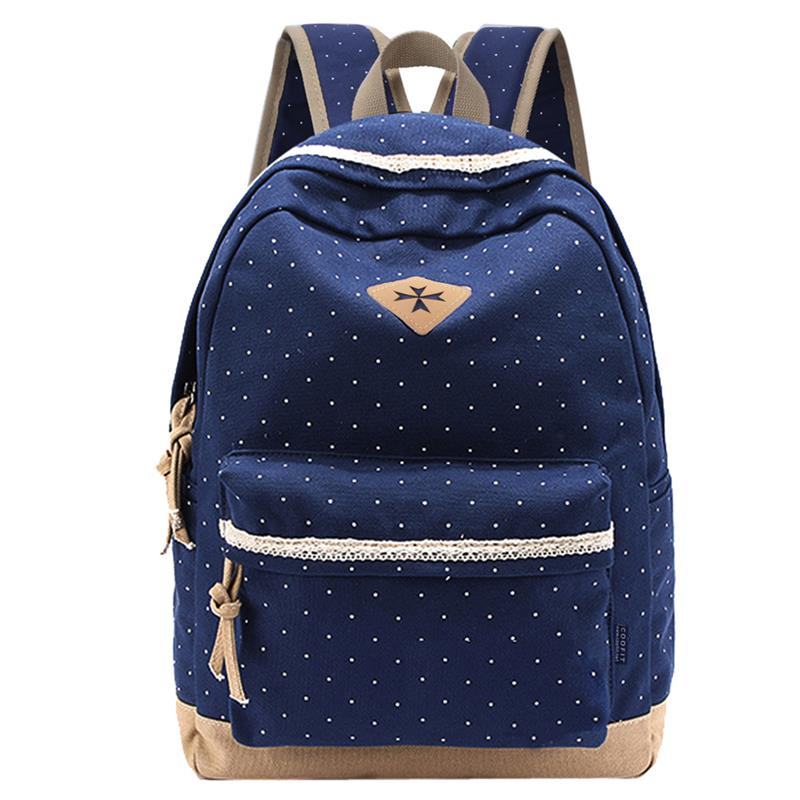 Cheap Fresh Lace Polka Dot Backpack For Children Girls Teenagers Canvas School Bag For Women Ladies Female DaypackCheap Fresh Lace Polka Dot Backpack For Children Girls Teenagers Canvas School Bag For Women Ladies Female Daypack