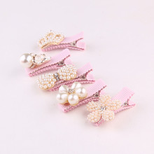 New Baby Hair Clips Crown Pearls Hairpins Children Accessories Protect Well Wrapped Bow Princess Barrette