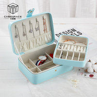 New Large Travel Portable Jewelry Box Cute Button Leather Jewelry Box Ring Earring Holder Display Jewellery Organizer Gift Box