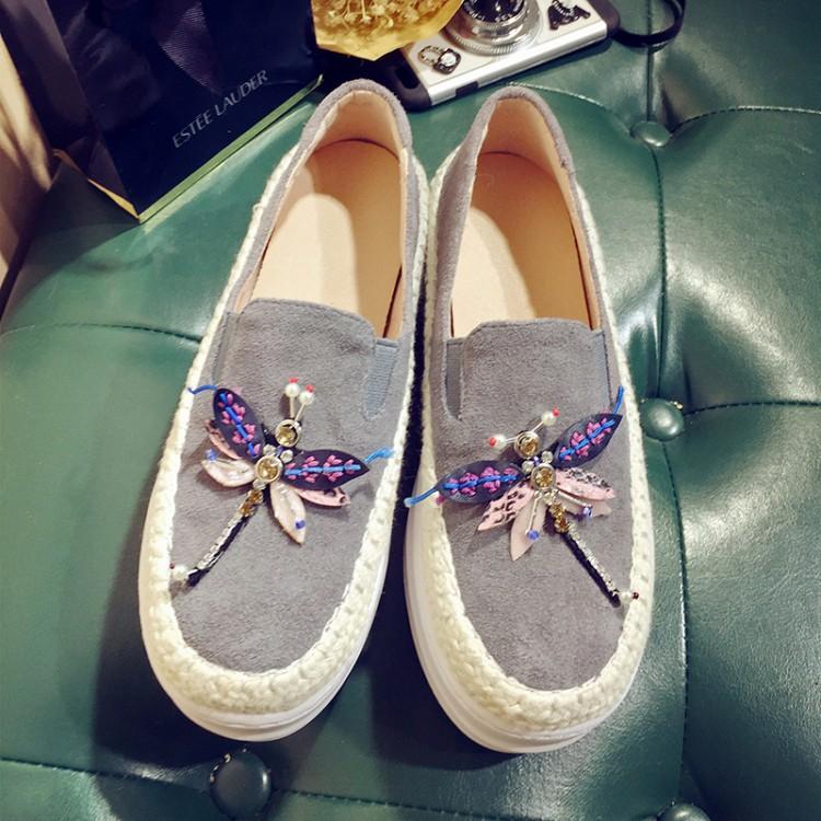 Big Size Women Platform Loafers Crystal Genuine Leather High Quality Pointed Toe Flats Shoes For Women Slipony Women Rhinestone  (36)
