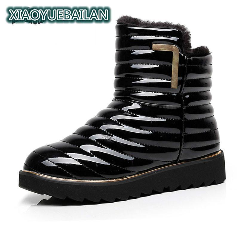 Waterproof Winter Snow Boots Female Short Tube Shoes Boots With Thick Warm Velvet Vamp Only New Sexy Boots Shiny Slip аксессуары для укладки волос co e olive 100g