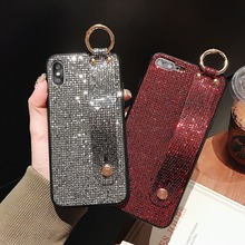 Case For iPhone Xr X Xs Max Cover Luxury Glitter Lattice Sequins Girly Wristband Stand Cases 7 8 Plus 6S