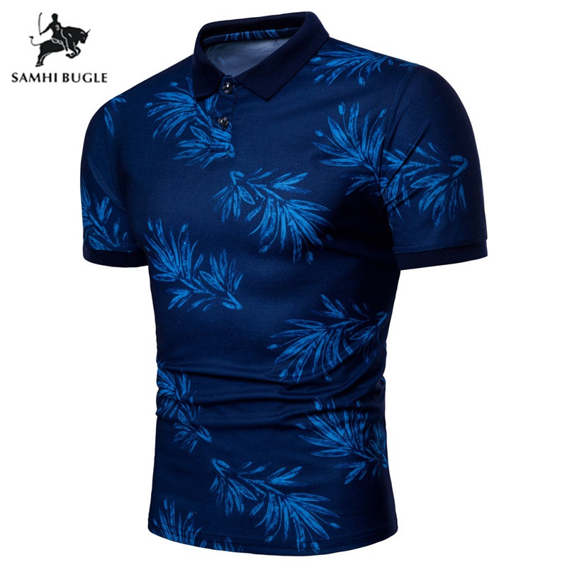 Fashion Red Blue Leaves Printing   Polo   Tops Short Sleeves   Polo   Homme 2018 Brand Clothing Camisa Masculina Casual   Polo   Shirt Men