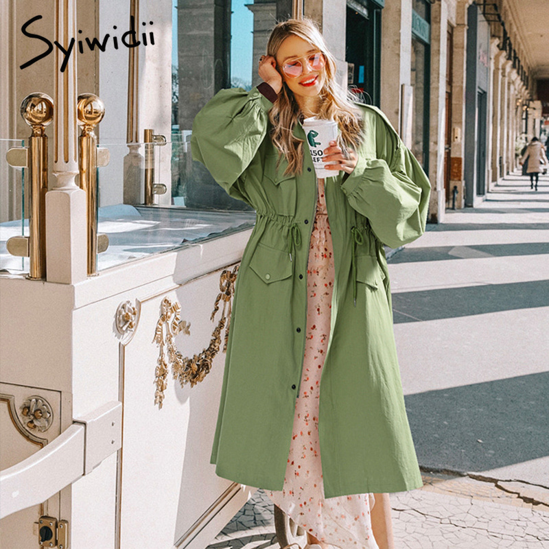 Syiwidii   Trench   Coat for Women Green Long Coat Women High Waist Pleated Loose Plus Size Long Khaki Maxi Coat with Big Pocket