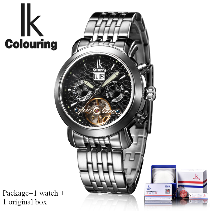 IK colouring Men's Watches Top Brand Luxury Automatic Self Wind Mechanical Watch Men Stainless Steel Wristwatches Gifts for Men все цены