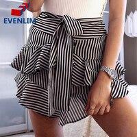 EVENLIM Summer Women Fashion Striped Ruffles Skirt High Waist Slim Short Dress Women Ruffle Bow Mini