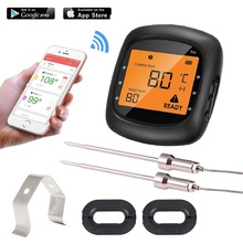 AidMax 05B Outdoor Wireless Digital Bluetooth BBQ Thermometer- Temperature Gauge for Oven Grill – 2 X Probe- Freee App Control