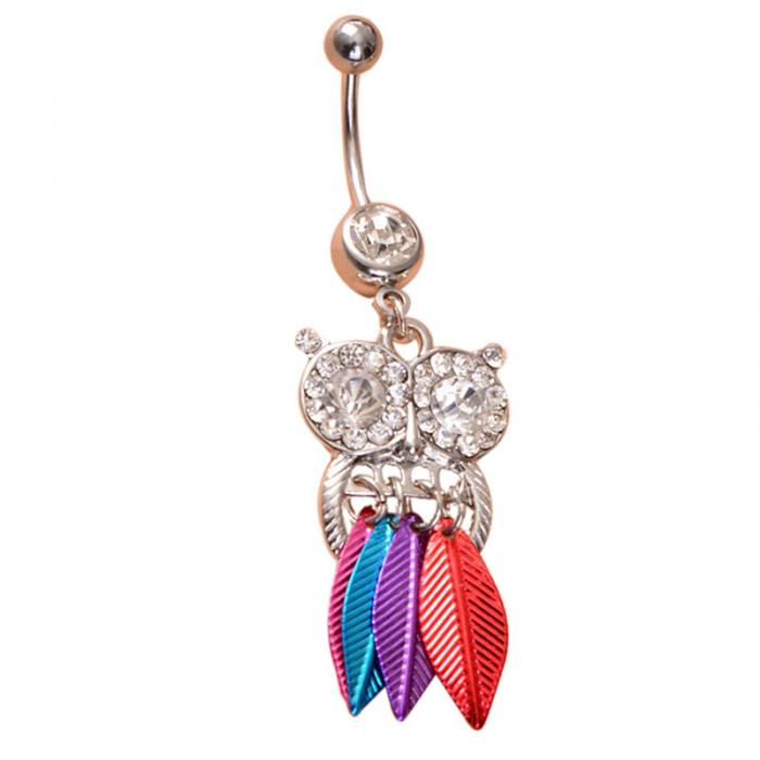 HTB1cqevPpXXXXXfaFXXq6xXFXXXT Belly Button Piercing Jewelry Crystal Owl Dangle Belly Button Ring For Women - 4 Colors