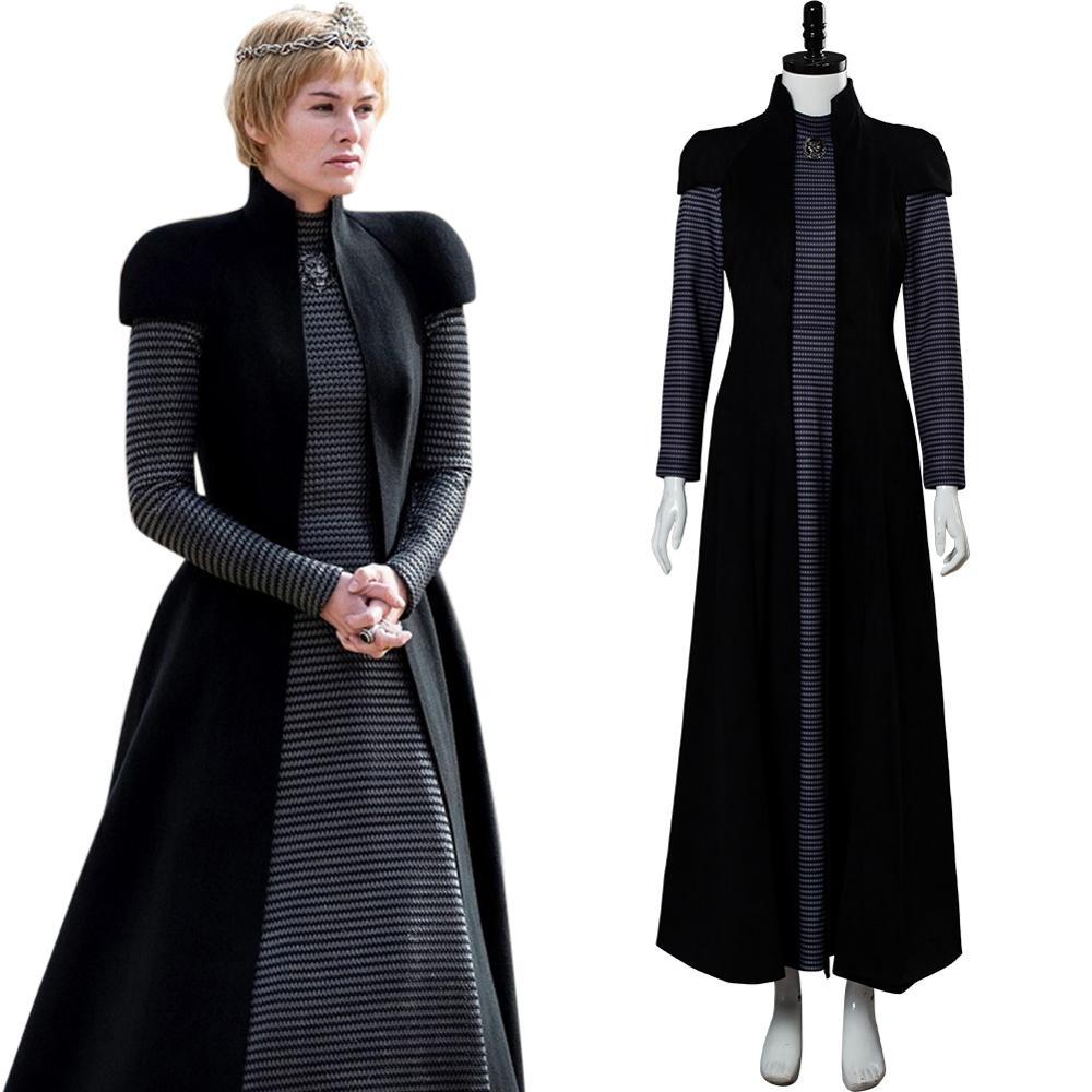Game of Thrones GOT Season 8 Cersei Lannister Cosplay Costume Black Dress Halloween Carnival Costumes Custom