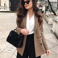 Fashion Double Breasted Office Ladies Blazer Notched Long Sleeve Loose Plaid Blazer 2018 Autumn Jacket Women Blazers