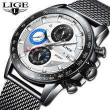 LIGE New Mens Watches Top Brand Luxury Casual Quartz Watch Men Fashion Full Steel Waterproof Sport Chronograph Relogio Masculino цена и фото