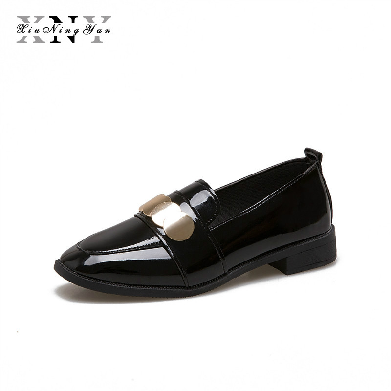 XiuNingYan 2018 Oxfords Patent PU Leather Brogue Shoes Woman Flat Slip on Casual Creepers Square Toe Women Flats Loafers Shoes new round toe slip on women loafers fashion bow patent leather women flat shoes ladies casual flats big size 34 43 women oxfords
