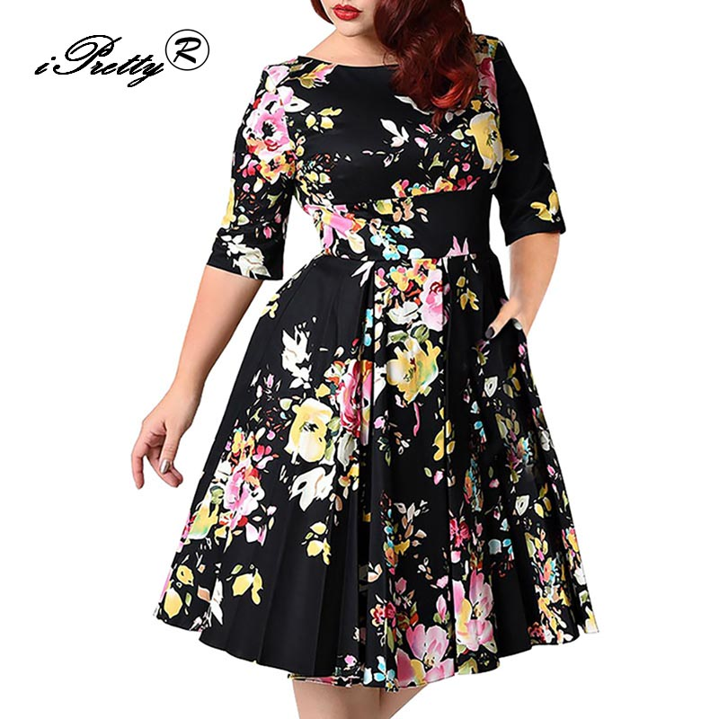 Large Size 3XL-6XL Women Vintage Dress Floral Print O Neck Half Sleeve Tunic Big Swing Party Pin Up Plus Size Rockabilly Dress