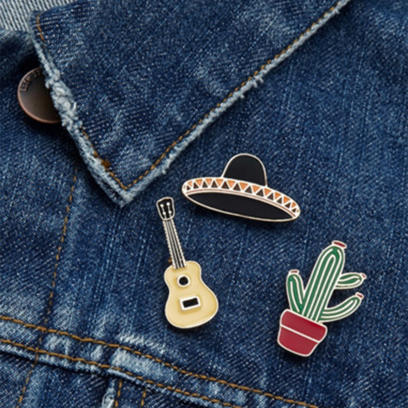 3tk / komplekt Hat Cup Guitar Kaktus Potted Plant Pross Denim Jakk Pin Buckle Särk Badge Fashion Jewelry Kingitus Sõbrale