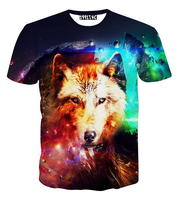 New Fashion Galaxy Wolf T Shirt For Men Women Animal 3d T Shirt Summer Harajuku Tshirt