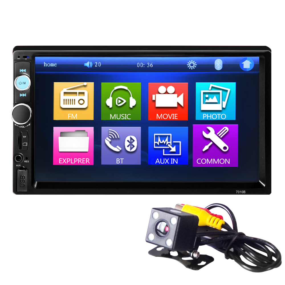 цена 7010B 2 Din Car Radio Double Din Car Video Player Touch Screen Panel Car Audio Player Support FM/MP5/USB/AUX/Bluetooth