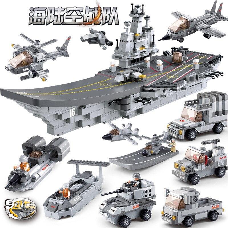 Oyuncaklar ve Hobi Ürünleri'ten Modeli Yapı Setleri'de 1001 adet 9in1 çocuk yapı taşları oyuncak Uyumlu Legoingly şehir Askeri deniz arazi ve hava takım Savaş Gemisi doğum günü hediyeleri'da  Grup 1